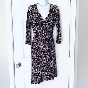 🆕 NWT leopard-print asymmetrical faux-wrap dress